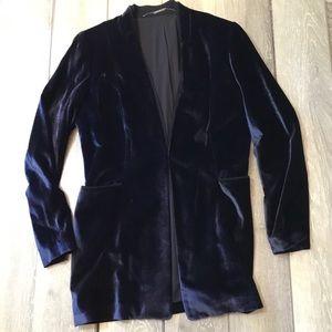Elie Tahari navy velvet front clasp blazer 14 $478